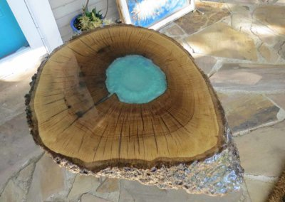 epoxy custom side table blue river side table custom live edge side table