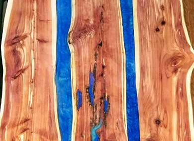 Blue Epoxy River Dining Room Table