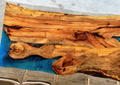 Pecan Table with Blue Epoxy