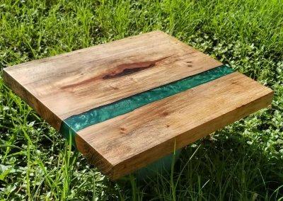 Pecan Charcuterie Board with Green Epoxy